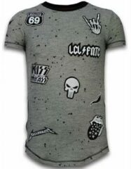 Grijze T-shirt Korte Mouw Local Fanatic Longfit Asymmetric Embroidery - T-Shirt Patches - Rockstar