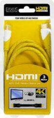 Gele HDMI-kabel 4K Ultra HD, verguld, HighSpeed Ethernet, 3,0 m EAXUS