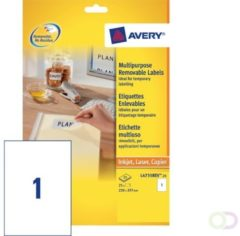 Avery-Zweckform Losse etiketvellen Avery Zweckform Perfect Printout L4735REV-25 ( 210 x 297 mm ),Wit, 30 stuks, Weer verwijderbaar