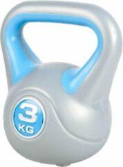Blauwe Gorilla Sports Kettlebell 3 kg Kunststof Trendy (extra stabiel)