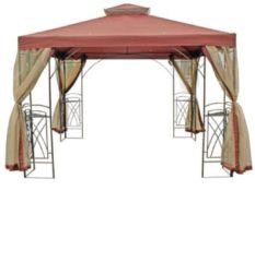 Pavillon mit Seitennetzen terracotta/cremebr