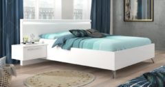 Ameubelment Tweepersoonsbed Lice 160x200cm breed in hoogglans wit