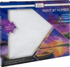 Nassau Fine Art Schilderen op nummer volwassenen | Boot en landschap | Canvas 40 x 50 CM |24 soorten acryl verf |Hobby | Creatief