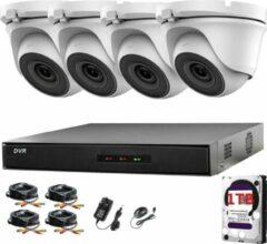 HIKVISION 4CH CCTV KIT DVR 1080P & 4X 2.0MP VOLLEDIGE HD 1080P WIT DOME CCTV CAMERAS IR 20M NIGHT VISIE REMOTE VIEW eenvoudig P2P SECURITY CAMERA SYSTEM (1TB HDD PRE-INSTALLED)