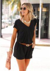 Zwarte LASCANA jumpsuit met korte mouwen