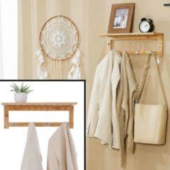 Naturelkleurige Wandkapstok van bamboe hout met 4 haken & Legplank - Houten wandrek - Kapstok voor aan de Muur of Wand 4 Haaks - Garderoberek - Hangende kapstok voor badkamer, hal, gaderobe - Decopatent®
