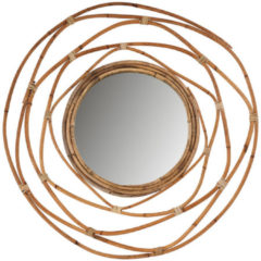 Xenos Spiegel met rotan lijst - ø60 cm