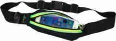 Zwarte Tunturi Hardloopheuptas - Fitness belt - Runningbelt - Hardloopriem - Hardloopgordel - Hardloopverlichting - Hardloopriem - Hardloop belt - met LED verlichting Groen