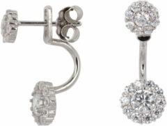 Classics&More Lovenotes oorbellen - earjackets - zilver - gerodineerd - zirkonia - rondjes