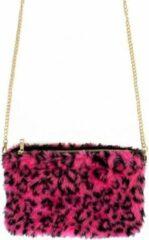 Merkloos / Sans marque Pluche handtas roze panterprint met gouden ketting - Handtassen - Carnaval/themafeest verkleed accessoire