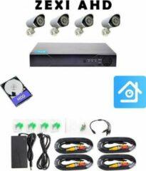 Witte ZEXI AHD - Beveiligingscamera set met 4 Cameras- Home Security - Met Opslag - Bekabeld - Voor Buiten - 4 Camera's - Compleet Systeem – CCTV - Met 500GB
