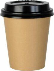 Packadi Koffiebeker Karton 70,3mm 180ml 7oz Vendingcup Bruin 100 Stuks + deksels - wegwerp papieren bekers - drank bekers - milieuvriendelijk