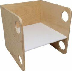 Naturelkleurige Playwood houten kubus stoel - Peuterstoel - Multiplex - blank gelakt met witte zitting