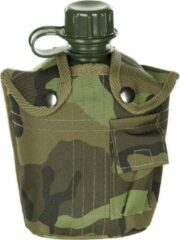 MFH US Army kunststof veldfles, 1 liter, hoes, M 95 CZ-camouflage, BPA-vrij