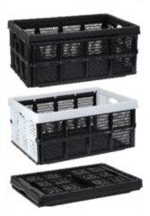 Zwarte inklapbare boodschappenkrat/opbergkrat 50 cm - Vouwkratten/boodschappenkratten - Krat voor boodschappen