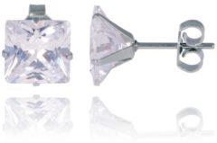 Zilveren LGT JWLS LGT Jewels Stud oorbellen Edelstaal Classic Transparent 8mm