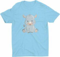 Blauwe Pixeline Rhino #Blue 118-128 t/m 8 jaar - Kinderen - Baby - Kids - Peuter - Babykleding - Kinderkleding - Rhino - T shirt kids - Kindershirts - Pixeline - Peuterkleding