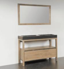 Zwarte Saniclass Black Spirit meubelwastafel 120cm 2 wasbakken 2 kraangaten natuursteen zwart 2388
