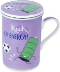 Md gifts Theetas met filter voor verse thee / voetbal