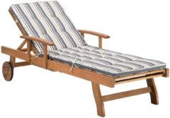 Bruine Beliani Ligstoel hout donkerblauw/beige JAVA