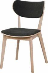 Nordiq Cato houten eetkamerstoel - Whitewash eikenhout - Stoffen zitting - Grijs