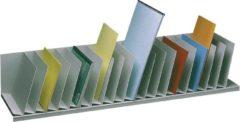 Sorteervak Paperflow met vaste, schuine tussenschotten 20 vakken, breedte 111,5 cm, kleur: grijs