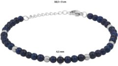 Blauwe Huiscollectie TFT Armband Staal Lapis 4,5 mm 18,5 + 3 cm