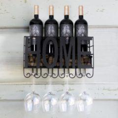 QUVIO Wijnrek met glazenhouder en kurk opbergvak / Stalen wijnrek voor aan de muur / Geschikt voor 4 wijnflessen en 4 wijnglazen - Zwart