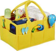 Relaxdays luiertas baby - organizer luiers - uitneembare schotjes - verzorgingstas vilt geel