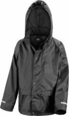 Result Regenjas winddicht zwart voor meisjes - Regenpak - Regenkleding voor kinderen XS (98-104)