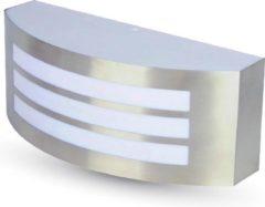 Roestvrijstalen V-tac RVS wand buitenlamp met E27 fitting IP44 vochtbestendig en 2 jaar garantie
