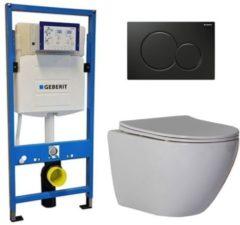 Douche Concurrent Geberit UP 320 Toiletsets - Inbouw WC Hangtoilet Wandcloset - Shorty Flatline Sigma-01 Zwart