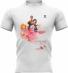 Trainingshirt JC Taekwondo Focus your Mind | wit-oranje | S