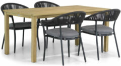 Antraciet-grijze Santika Furniture Santika Vivian/Weston 160 cm dining tuinset 5-delig