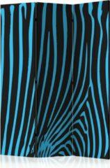 Lichtblauwe Kamerscherm - Scheidingswand - Vouwscherm - Zebra pattern (turquoise) [Room Dividers] 135x172 - Artgeist Vouwscherm