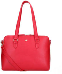 FMME Schoudertas Charlotte Laptop Business Bag Grain 13.3 Inch Rood