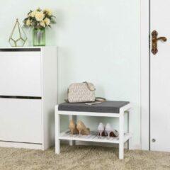 Grijze Songmics Bamboe Schoenenrek En Bank - Badkamerrek - 2 Lagen - Opbergrek