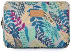 Blauwe Lisen Laptop Sleeve met bladeren tot 13 inch Lichtgeel/Blauwgroen
