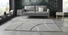 Licht-grijze Tapeso Vloerkleed retro Abstract Circles - lichtgrijs 80x150 cm