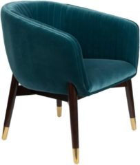 Blauwe Dutchbone Dolly fauteuil velours