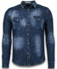 Blauwe Overhemd Lange Mouw Enos Denim Shirt - Spijkerblouse Slim Fit - Vintage Washed
