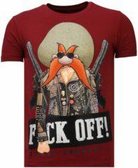 Gouden Local Fanatic Bandit Chief - Rhinestone T-shirt - Bordeaux - Maten: XL