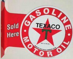 Mooiblik Texaco Sold Here. Aluminium uithangbord 34 x 45 cm.