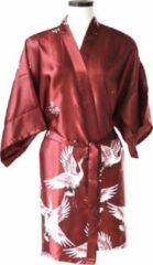 TA-HWA Korte Kimono met Kraanvogels Rood Dames Nachtmode kimono S