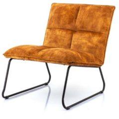 Oranje Eleonora Ruby Fauteuil - Oker Adore - Zwart Metalen Sledeframe
