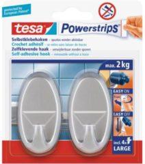Zilveren 2x Tesa Powerstrips mat chroom haken ovaal large - Klusbenodigdheden - Huishouden - Verwijderbare haken - Opplak haken 2 stuks