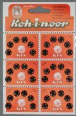 Koh-i-noor roestvrijstalen zwarte drukknopen - 6 mm - zwart - aannaaibare drukkers - 36 stuks op kaart
