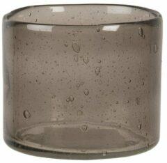 Clayre & Eef Glazen Theelichthouder 6GL3027 Ø 8*10 cm Grijs Glas Rond Waxinelichthouder Windlichthouder