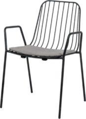 Legend Morris metalen draadstoel met armleuningen - Mat zwart