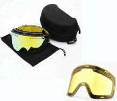 Merkloos / Sans marque Ski bril met Skibril met magnetische lens Spiegel Blauw frame Groen Y type 5 Cat. 3 tot 4 - ☀/☁